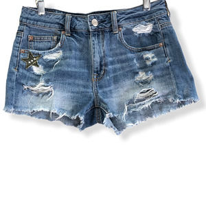 AE | Distressed Denim Jean Shorts Patches Festival